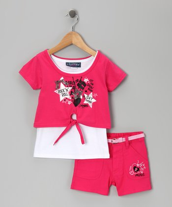 Fuchsia Music Star Layered Top & Shorts - Infant & Girls