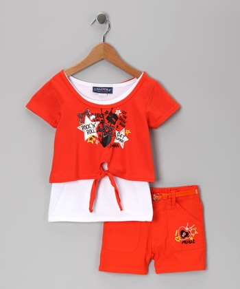 Orange Music Star Layered Top & Shorts - Infant & Girls