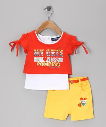Orange & Yellow 'My Cute' Top & Shorts - Infant & Girls