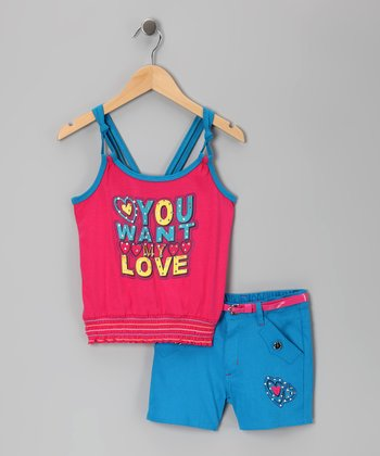 Fuchsia & Blue 'My Love' Tank & Shorts - Infant, Toddler & Girls