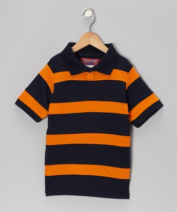 Navy & Orange Stripe Piqué Polo