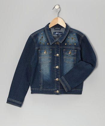 Dark Blue Studded Denim Jacket - Girls