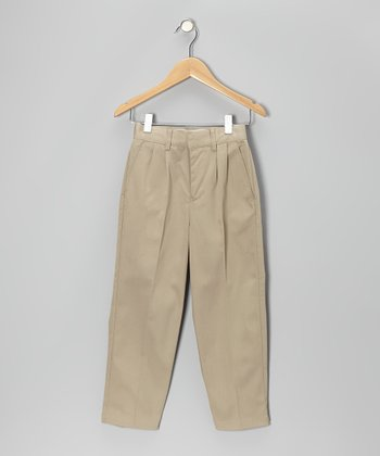 Khaki School Uniform Pleated Pants - Boys
