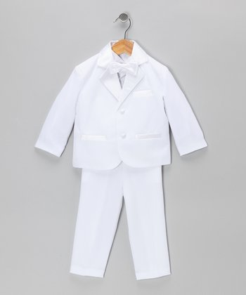 White Five-Piece Tuxedo Set - Toddler & Boys