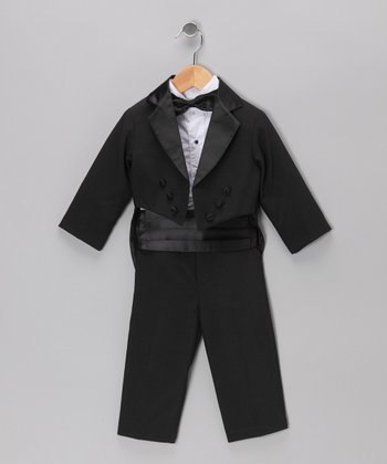 Black Five-Piece Tailcoat Tuxedo Set - Infant, Toddler & Boys