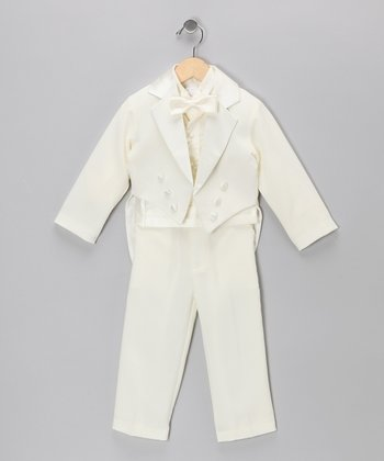 Ivory Five-Piece Tailcoat Tuxedo Set - Toddler & Boys