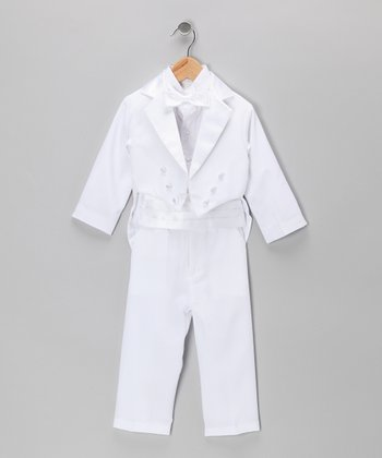 White Five-Piece Tailcoat Tuxedo Set - Toddler & Boys