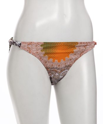 Orange Persian Paisley Rope Twist Bikini Bottoms