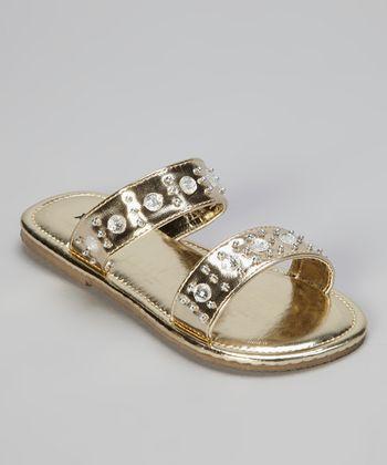 Gold Bejewled Sandal