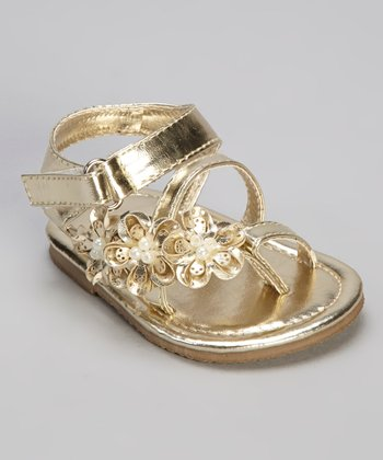 Gold Pearl Flower Sandal