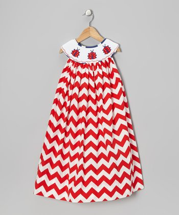 Red & White Zigzag Ladybug Dress - Infant