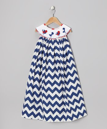 Royal Blue Zigzag Bird Dress - Toddler & Girls