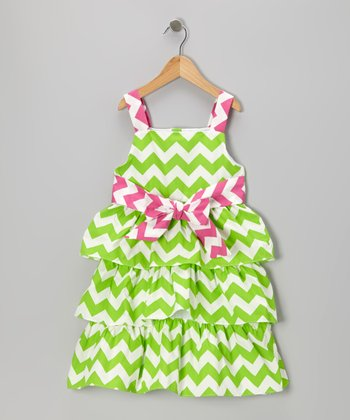 Lime & Hot Pink Zigzag Tiered Dress - Girls