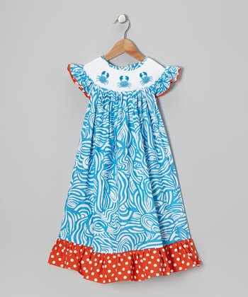 Aqua Crab Dress - Toddler & Girls