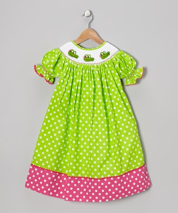 Lime Polka Dot Crocodile Bishop Dress - Infant, Toddler & Girls