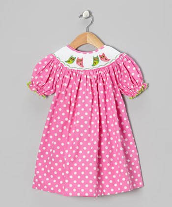 Pink Polka Dot Owl Bishop Dress - Infant, Toddler & Girls