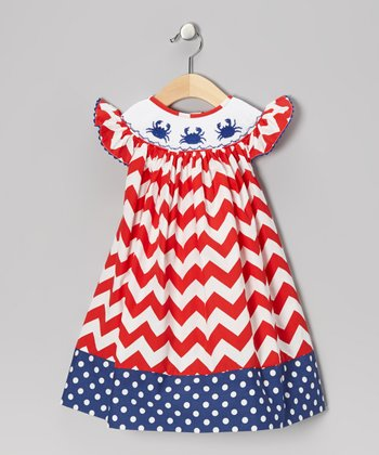 Red Zigzag Crab Dress - Infant, Toddler & Girls