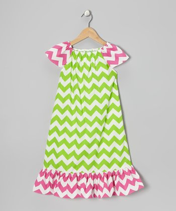 Lime & Pink Zigzag Dress - Toddler & Girls