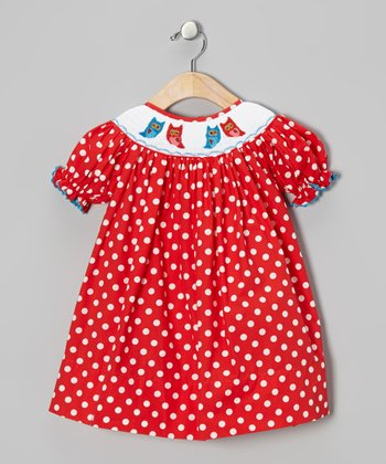 Red Polka Dot Owl Bishop Dress - Infant & Toddler