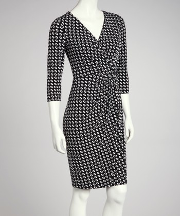 Black & White Three-Quarter Sleeve Wrap Dress