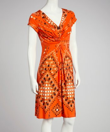 Orange & Olive Ruched Cap-Sleeve Dress