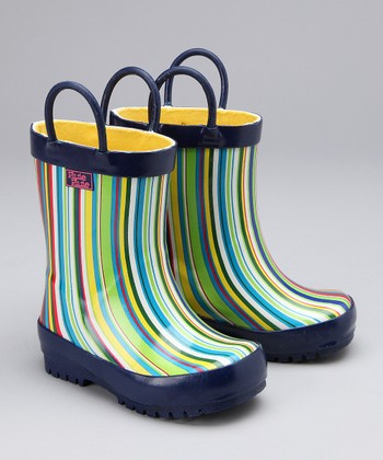 Blue Stripe Rain Boot