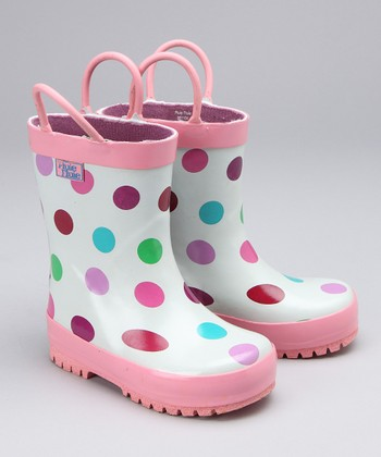 Pink Polka Dot Rain Boot