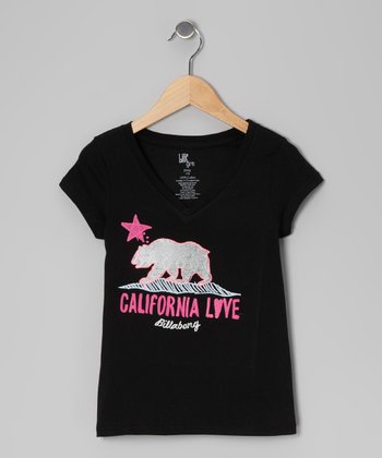 Black Born in Cali V-Neck Tee