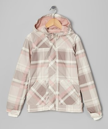 Whip Cream & Pink Plaid Ice House Hooded Jacket