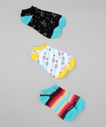 Teal & Yellow Trot Along Ankle Socks Set