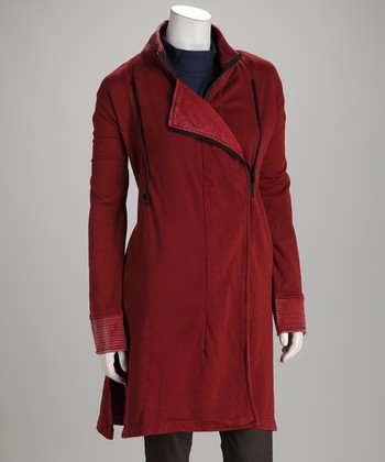 Red Double Zipper Coat