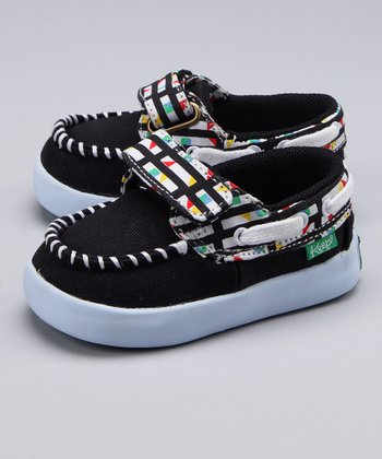 Black Contrast Plaid Boat Shoe