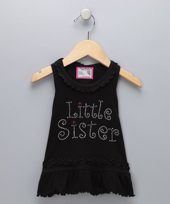 Black 'Little Sister' Dress - Infant, Toddler & Girls