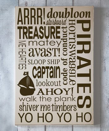 Cream & Brown Pirate Subway Wall Plaque