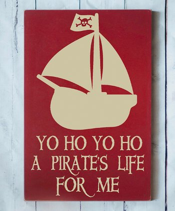 Red & Cream 'Pirate's Life' Wall Plaque