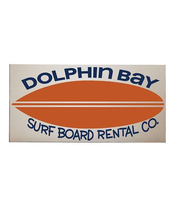 Orange & Crème 'Dolphin Bay' Surfboard Wall Art