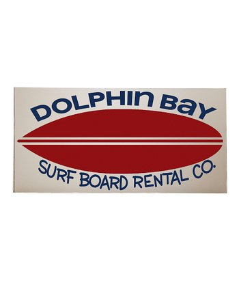 Red & Crème 'Dolphin Bay' Surfboard Wall Art