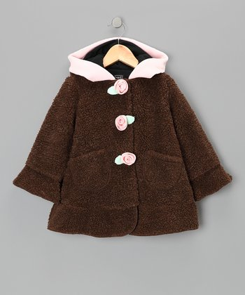 Brown & Pink Bear Hooded Jacket - Infant & Toddler