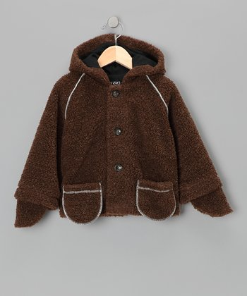 Brown & Blue Bear Hooded Jacket - Infant & Toddler