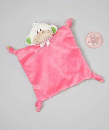 Pink Monkey Plush Toy Blanket & Pacifier
