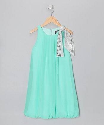 Mint Sequin Bow Bubble Dress - Toddler