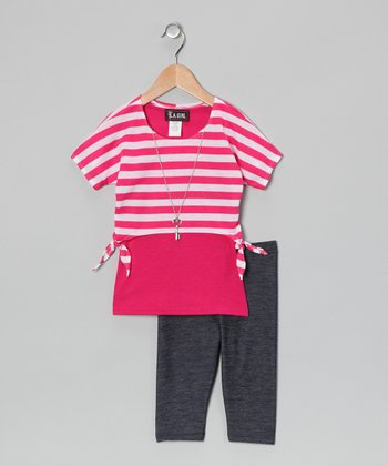 Fuchsia Stripe Layered Top & Jeggings - Toddler