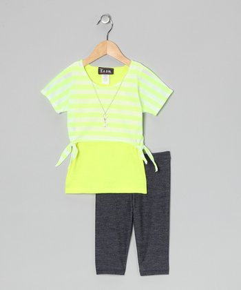 Yellow Stripe Layered Top & Jeggings - Toddler