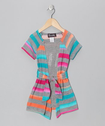 Rainbow Stripe Heart Layered Tunic - Toddler