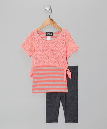 Coral Layered Stripe Top & Jeggings - Toddler & Girls