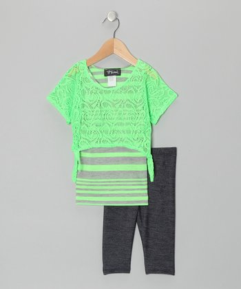 Lime Layered Stripe Top & Jeggings - Toddler & Girls