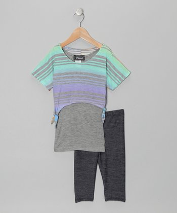 Mint & Blue Layered Stripe Top & Jeggings - Toddler & Girls