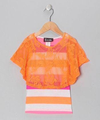 Neon Salmon Stripe Layered Top - Toddler