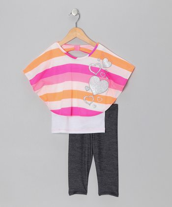 Fuchsia & Orange Heart Layered Top & Jeggings - Toddler & Girls