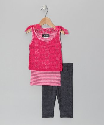 Fuchsia Layered Lace Tank & Jeggings - Girls